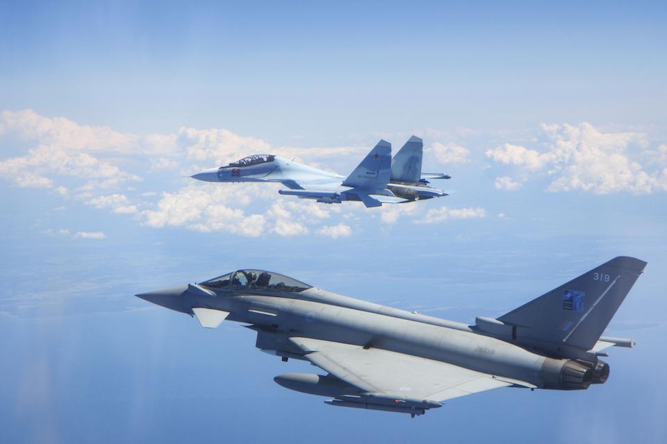 An RAF Typhoon intercepting a Russian military aircraft