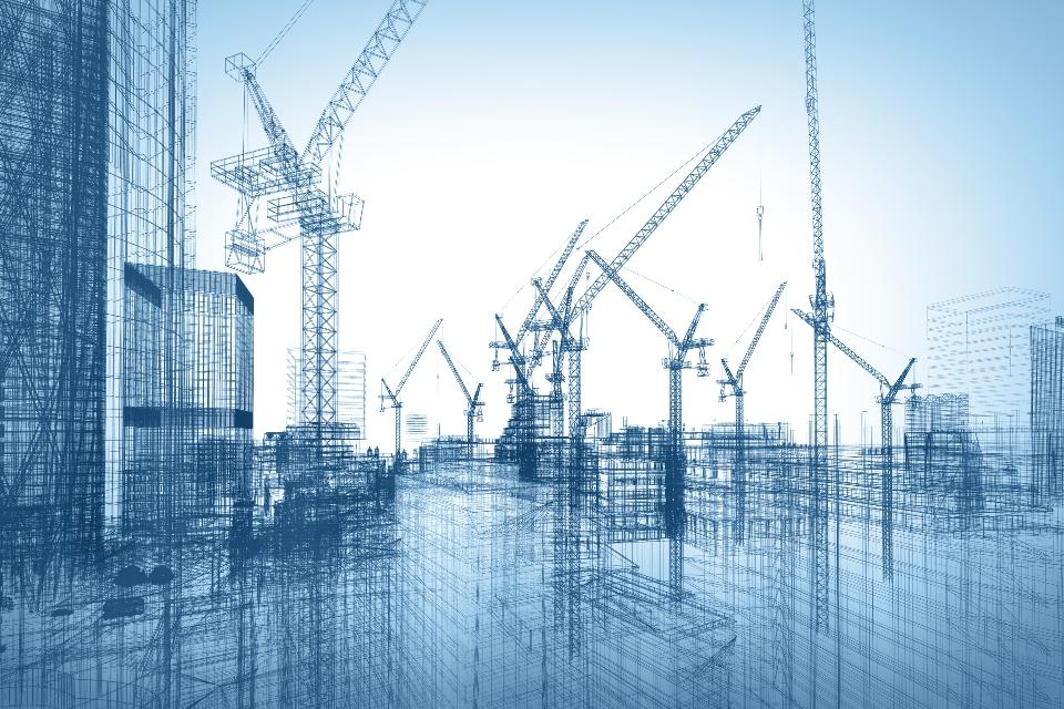 blueprint of several buildings under construction