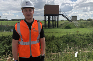 Tom Hams, assistant project manager, at Brotherton Marsh subsidence pumping station.