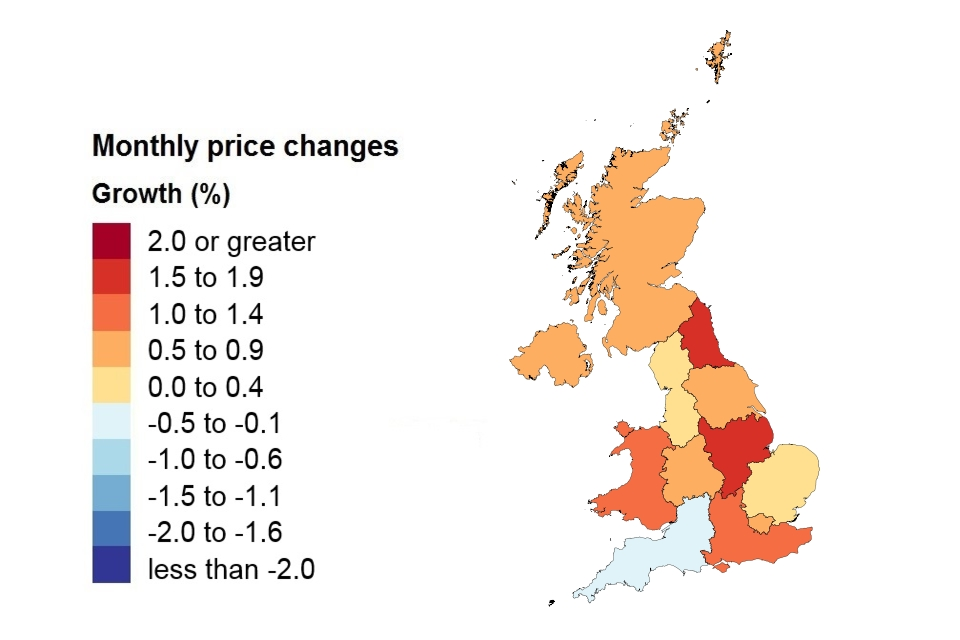 A heat map showing price changes by country and government office region.