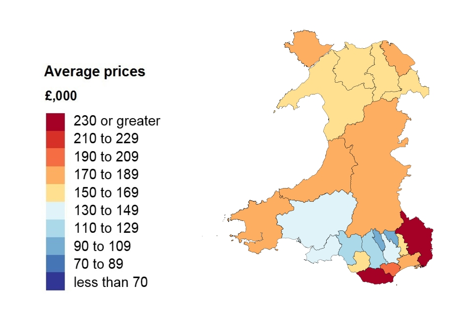 A heat map showing the average price by local authority for Wales.