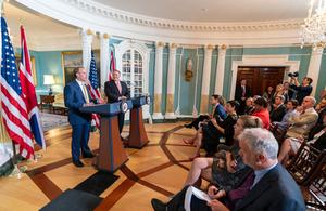 Foreign Secretary Raab and Secretary Pompeo address the media
