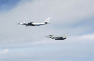 RAF Typhoons intercept a Russian bomber while deployed on Baltic Air Policing