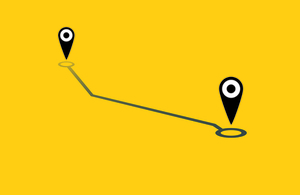 Graphic showing a map pin moving from one location to another joined by a dotted line.