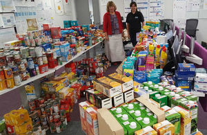 With some of the food collected in the East Midlands are Nicola Tomlinson of Highways England and Kay Fleming from nmcn