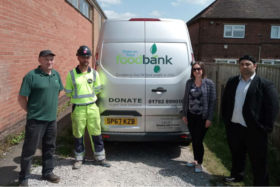 At the first delivery are John Bennett, warehouse coordinator for the Stoke food bank, Lee Brook, Osborne general foreperson; Kimberley Wild, Osborne performance manager; and Humzah Mir, Highways England project manager.