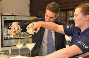 Education Secretary making cocktails with Collette Gorvett, World Skills competitor