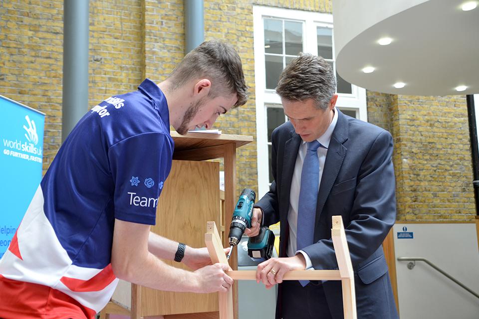 Education Secretary meeting Jack Goodrum, Team UK carpenter