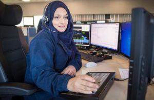 image of Saima at the West Midlands Regional Control Centre near Birmingham.