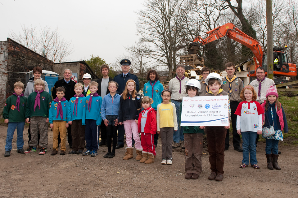 The young people who will benefit from the new Scouts and Guides building in Bedale
