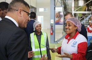 Alok Sharma with Unilever factory workers Bethlehem Tesfaye and Mieraf Tesfaye during his visit to Ethiopia. Picture: Anna Dubuis/DFID