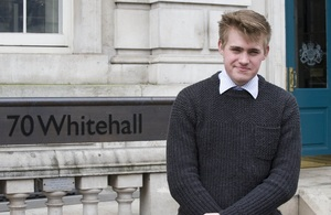 Alex Yates, apprentice at the Cabinet Office, 70 Whitehall