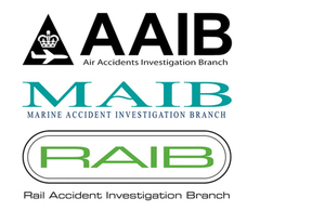 Air Accidents, Marine Accident, and Rail Accident Investigation Branch logos on a white background
