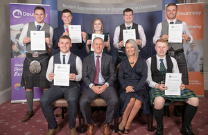 The graduating apprentices pictured with Dounreay MD Martin Moore and MSP Gail Ross