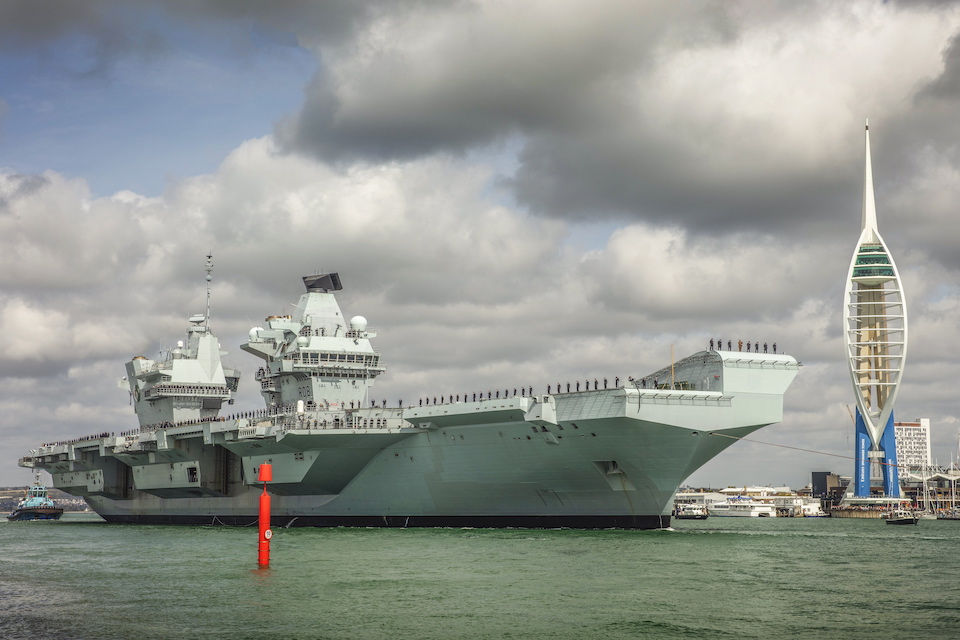 HMS Queen Elizabeth setting sail from Portsmouth