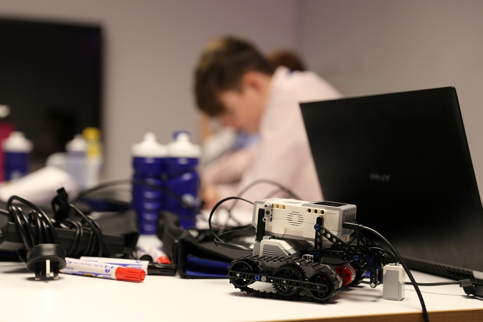 The small robot vehicle on the table was used by the work experince students to practice with.