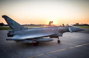 An RAF Typhoon stationed at Ämari Air Base in Estonia