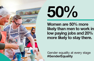 Statistic: Women are 50% more likely than men to work in low paying jobs and 20% more likely to stay there