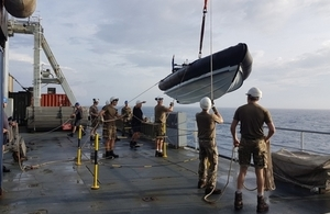 A rigid-hulled inflatable boat was deployed from RFA Mounts Bay this afternoon with vital aid.