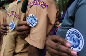 Tide Turners badge on sleeve of scout uniform
