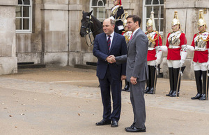 Defence Secretary Ben Wallace meets US Secretary of Defence Dr. Mark Esper outside Horse Guards