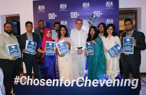 In the presence of the British High Commissioner to Bangladesh, HE Robert Chatterton Dickson, the certificates were handed over to the scholars at a Chevening Reception at the High Commissioner's Residence.