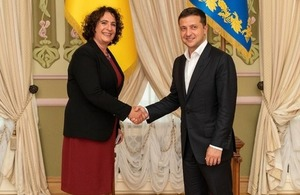 British Ambassador Melinda Simmons and Ukrainian President Volodymyr Zelenskyy