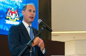 HRH The Prince Edward, Earl of Wessex speaking at screening of BBC Studios' Blue Planet II in Kuala Lumpur.