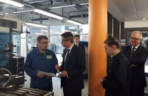 Education Secretary, Gavin Williamson at Dudley College of Technology