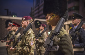 Armed Forces personnel parade before dawn this morning as part of a rehearsal for Lady Thatcher's funeral procession [Picture: Sergeant Adrian Harlen, Crown copyright]
