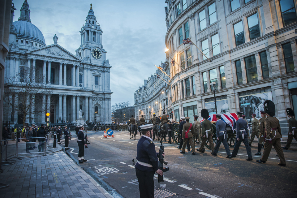 The military rehearsal of Lady Thatcher's funeral procession
