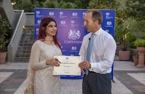 The 2019 Asma Jahangir scholarship was awarded to Hadiya Aziz by the British High Commissioner Thomas Drew.