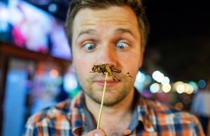 Man looking at a cricket just before eating it