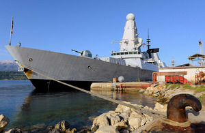 HMS Dragon alongside at Souda Bay, Crete [Picture: Leading Airman (Photographer) Dave Jenkins, Crown copyright]