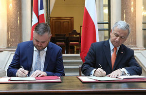 FCO Minister of State Andrew Stephenson MP and Chilean Minister for Finance Felipe Larrain sign MOU on Cybersecurity.