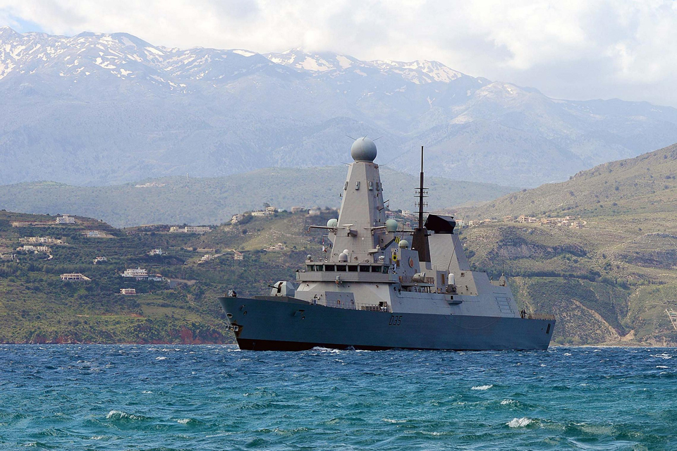 HMS Dragon enters Souda Bay