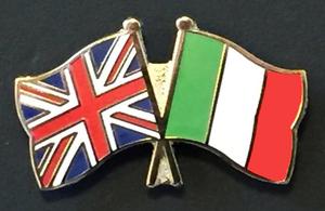 Crossed British and Italian flags