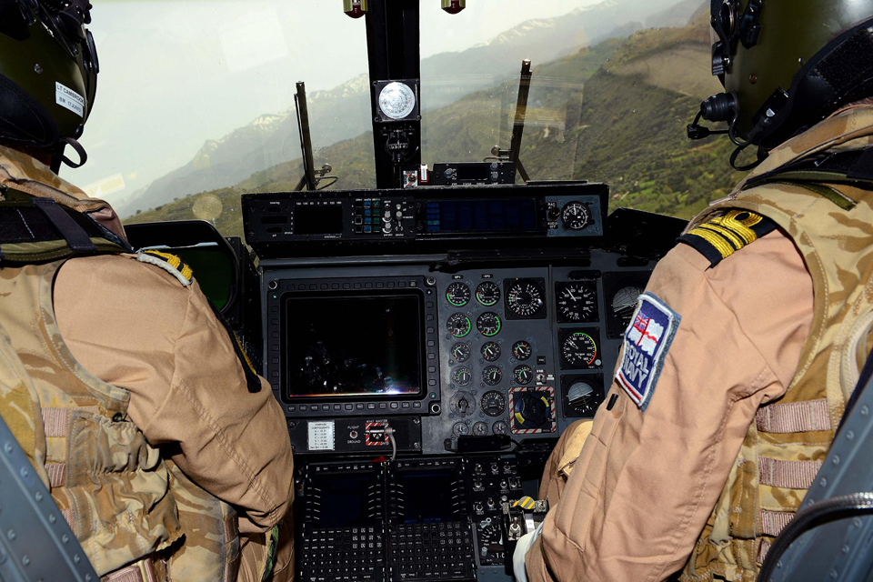 The view from HMS Dragon's Lynx helicopter in flight over Crete's valleys and mountains