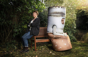 Giant cigarette looking glum - campaign image for Stoptober