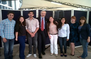 Visitors from the Falkland Islands met with university students in Guatemala.