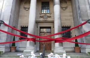 Council building wrapped in red tape