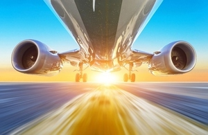 computer image of undercarriage of plane taking off