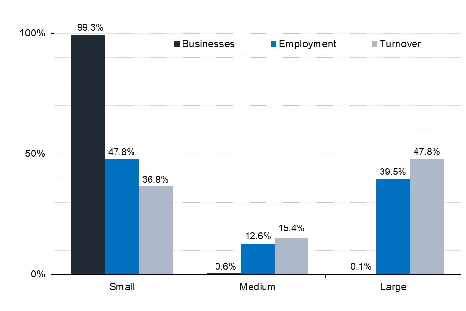 Small businesses account for over 99.9% of businesses, whilst accounting for 48% of employment and 37% of turnover