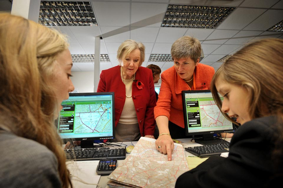 Baroness Hanham in a geography lesson