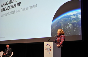 Defence Minister Anne-Marie Trevelyan speaking at the UK Space Conference.