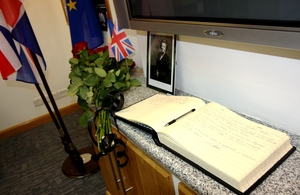Book of condolence for Lady Margaret Thatcher