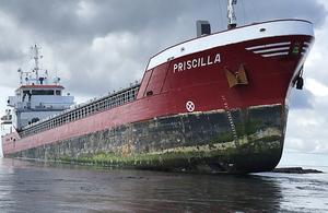 General cargo vessel Priscilla aground