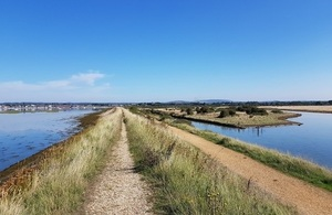 A proposed stretch of the England coastal path between Hampshire and West Sussex