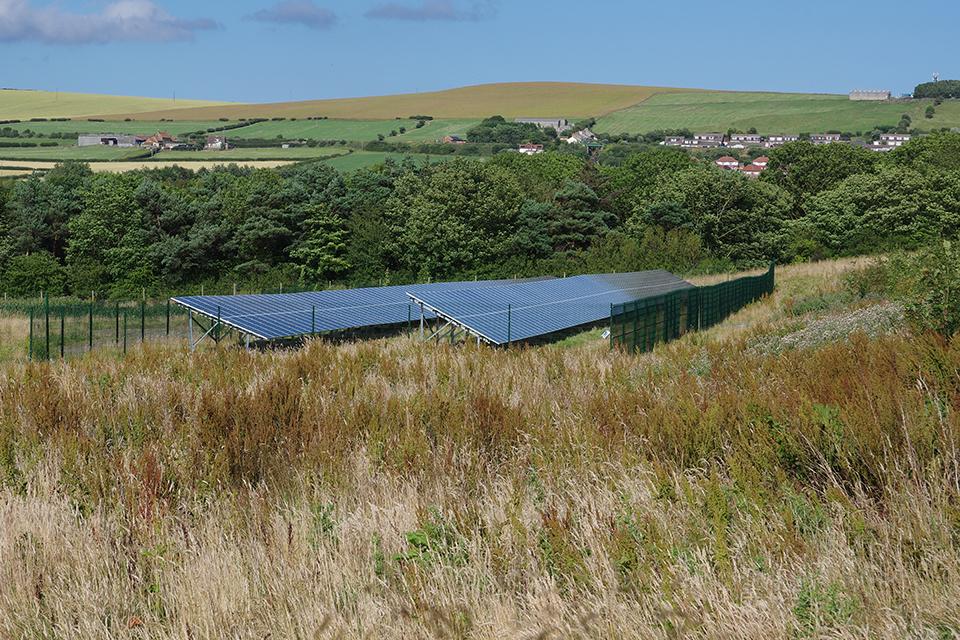 The solar array at the Saltburn mine water treatment scheme.