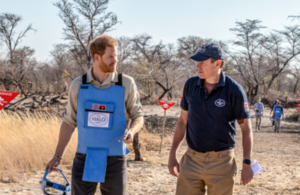 Prince Harry and Halo Trust CEO James Cowan in Angola. Picture: The Halo Trust
